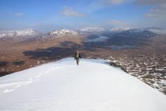 View east towards Loch Ossian from Leum Uilleim. March 2015.