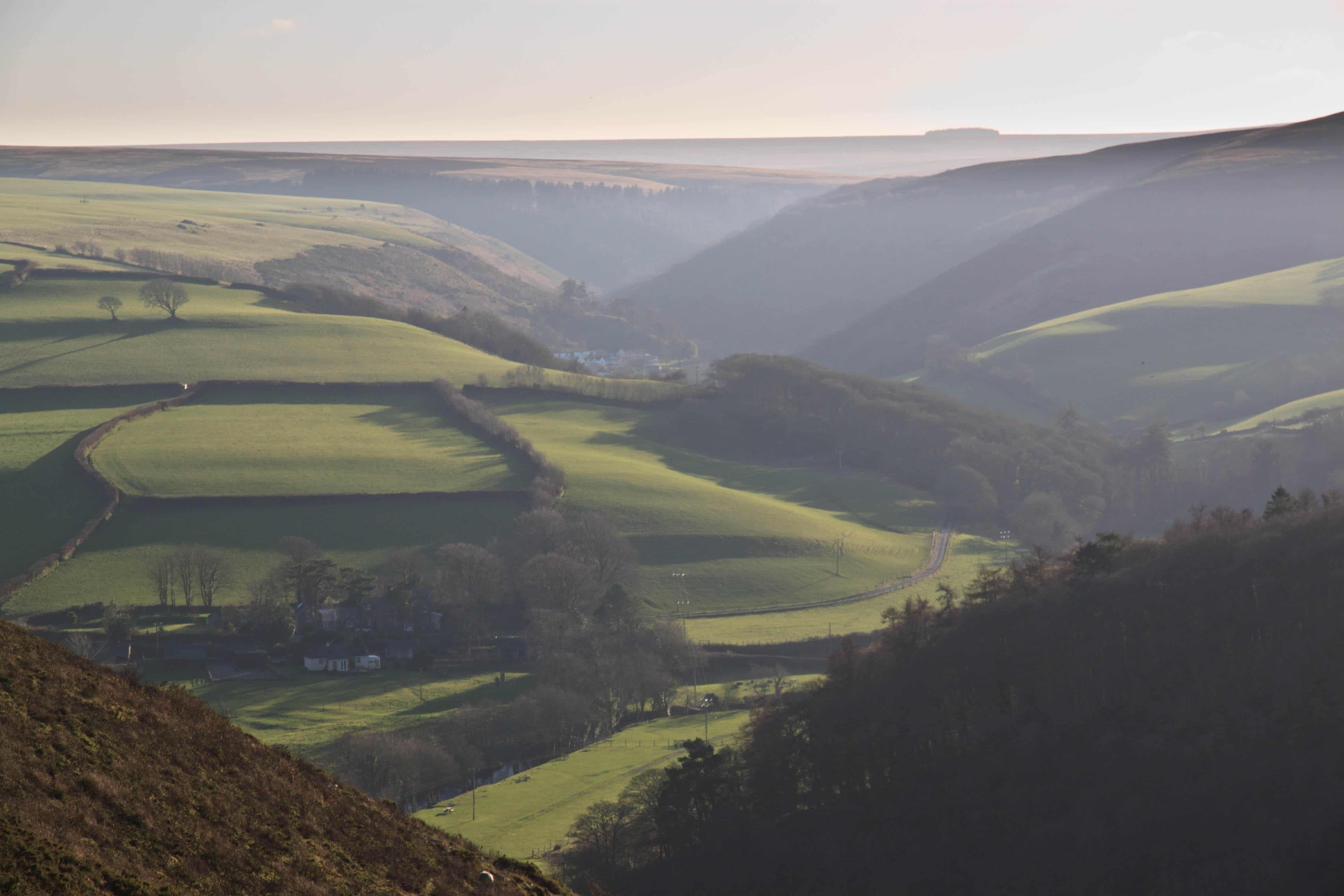 Fields and shadows  near Brendon, Exmoor. December 2014