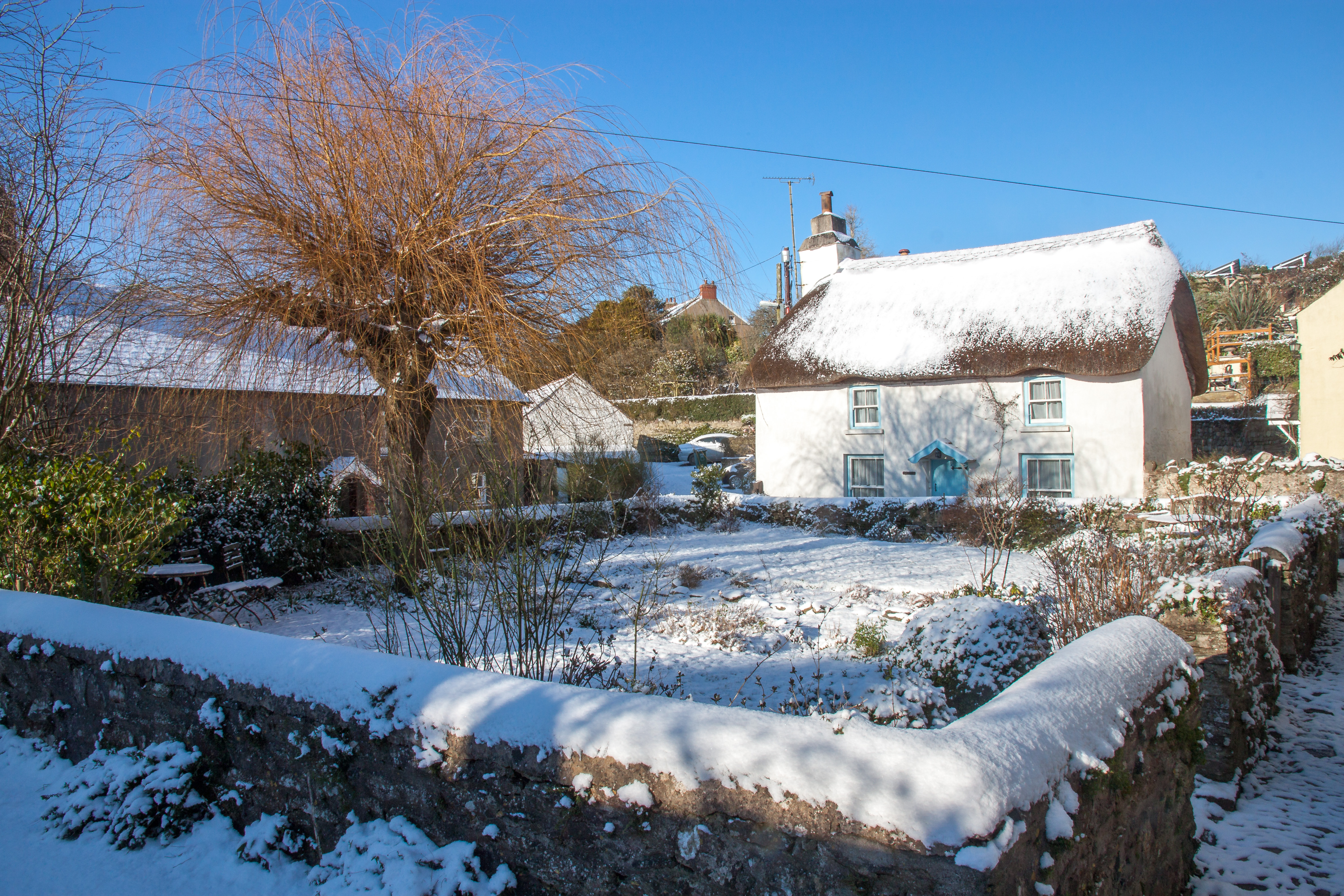 Outside Henry Williamson's Cottage in Winter