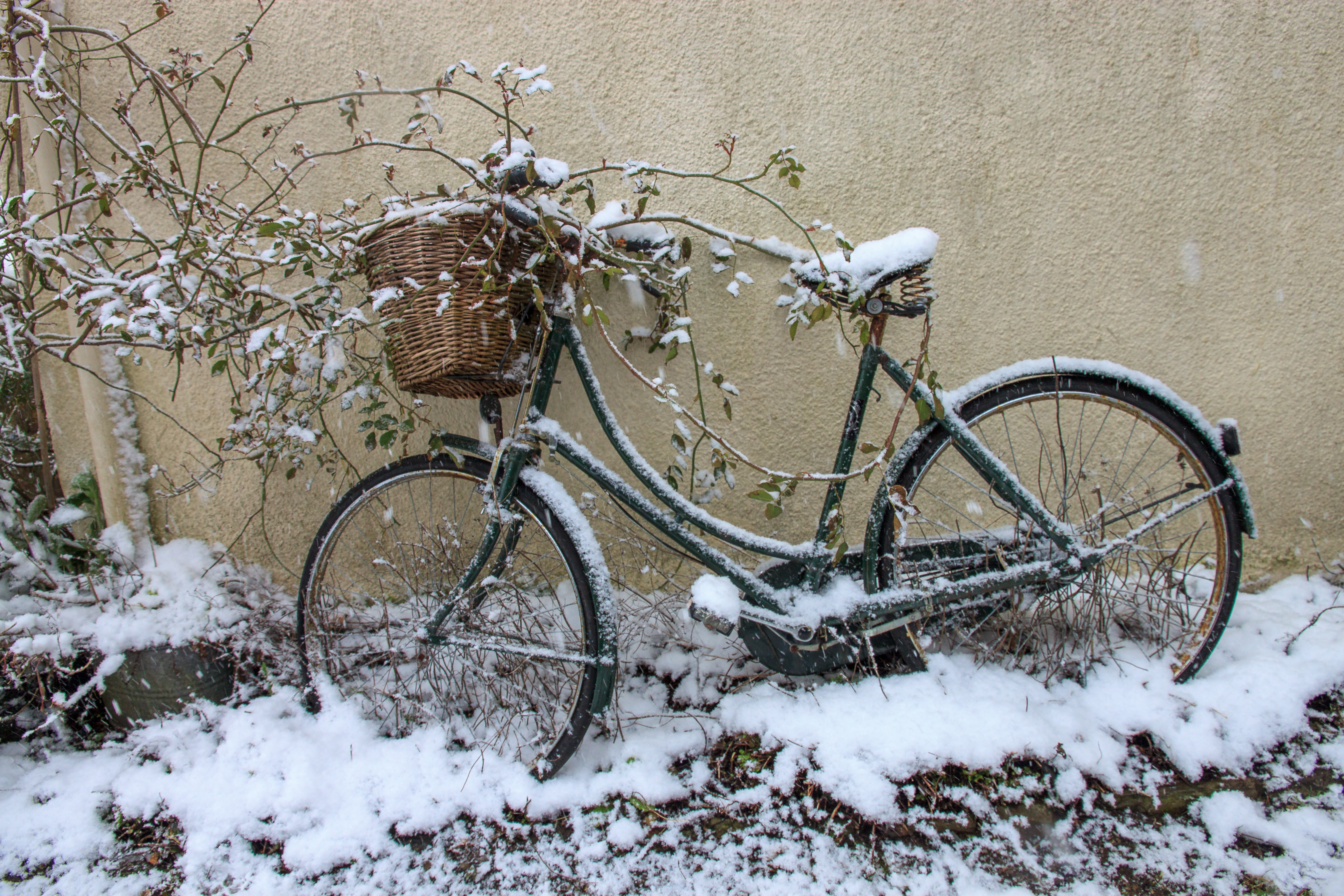 Bicycle in the snow. Georgeham March 2018