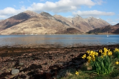Five Sisters of Kintail from Ratagan Youth Hostel looking across Loch Duich