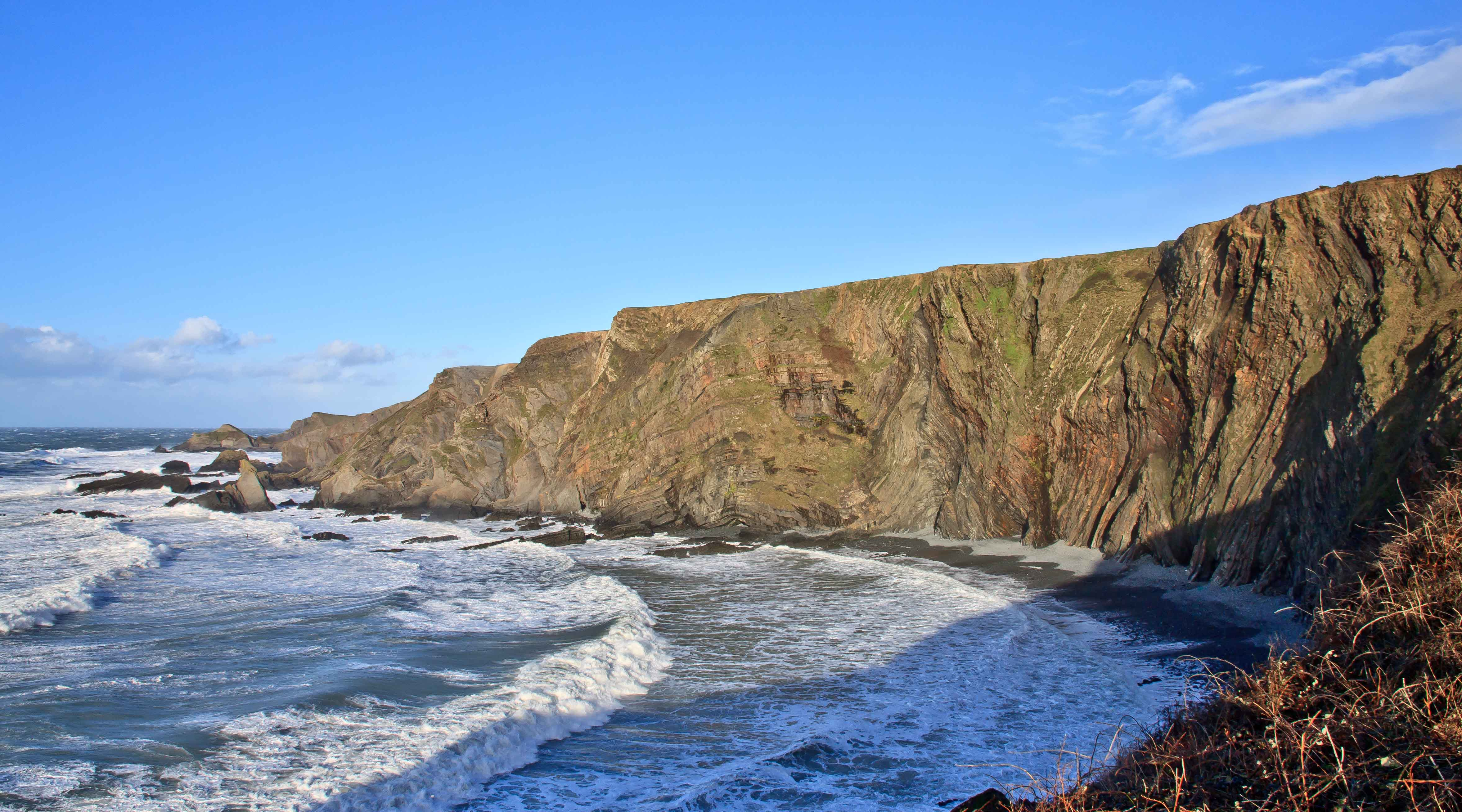 View north from Hartland Quay on a stormy afternoon.  January 2015