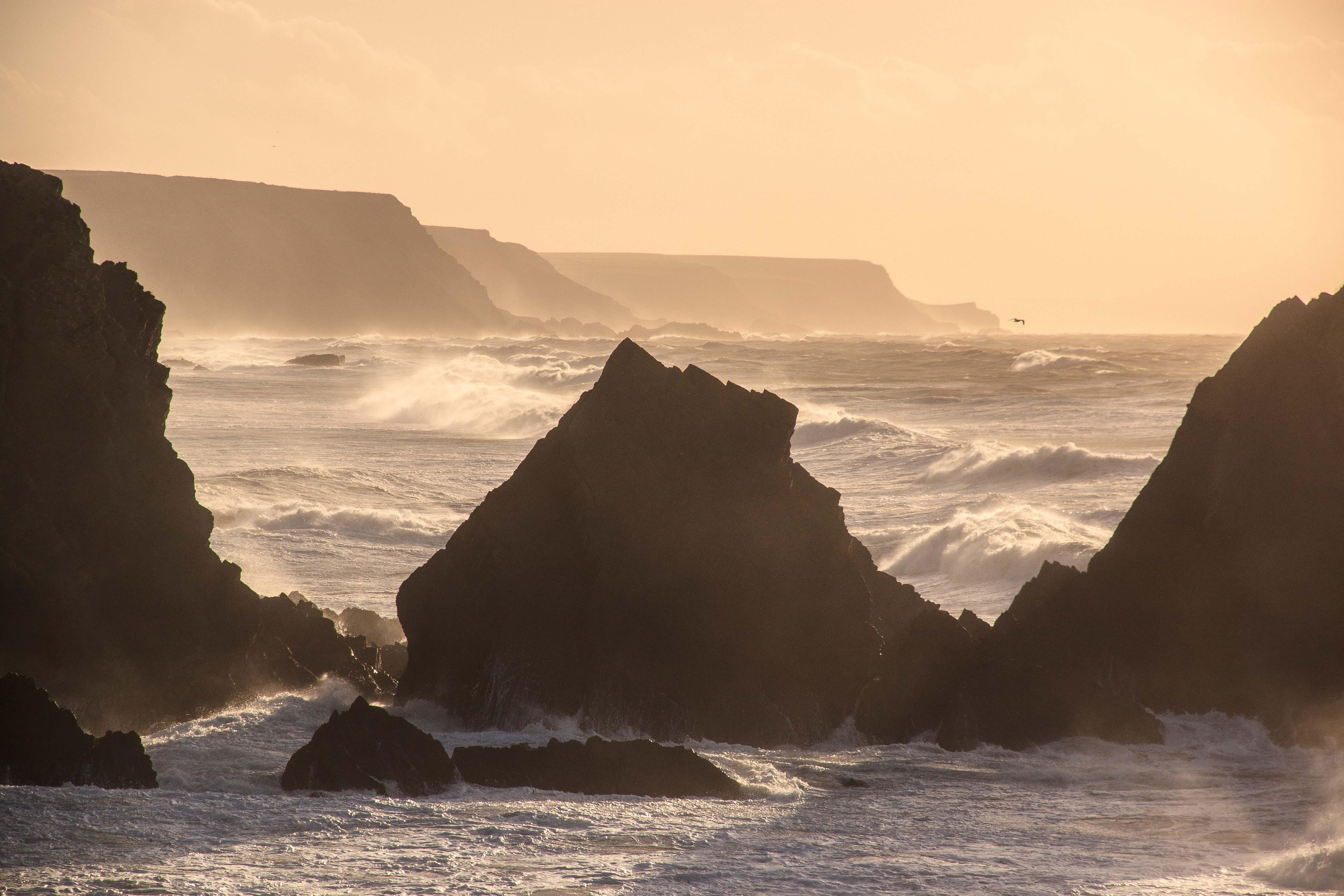 January: Stormy Sea near Hartland Quay