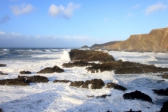 View north from Hartland Quay on the North Devon coast on a stormy January Day