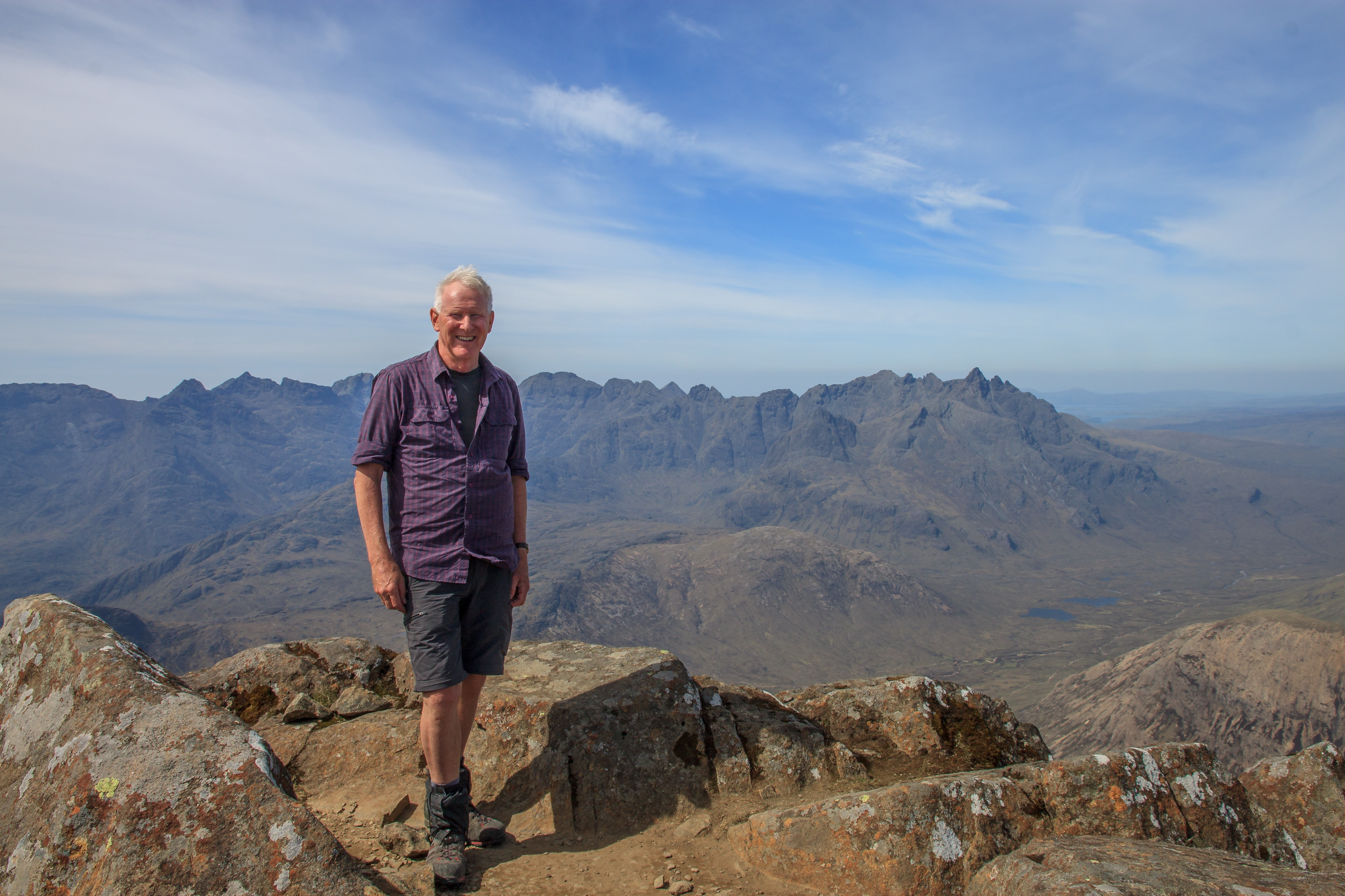 Me on the summit of Bla Bheinn with the Cuillin Ridge beyond