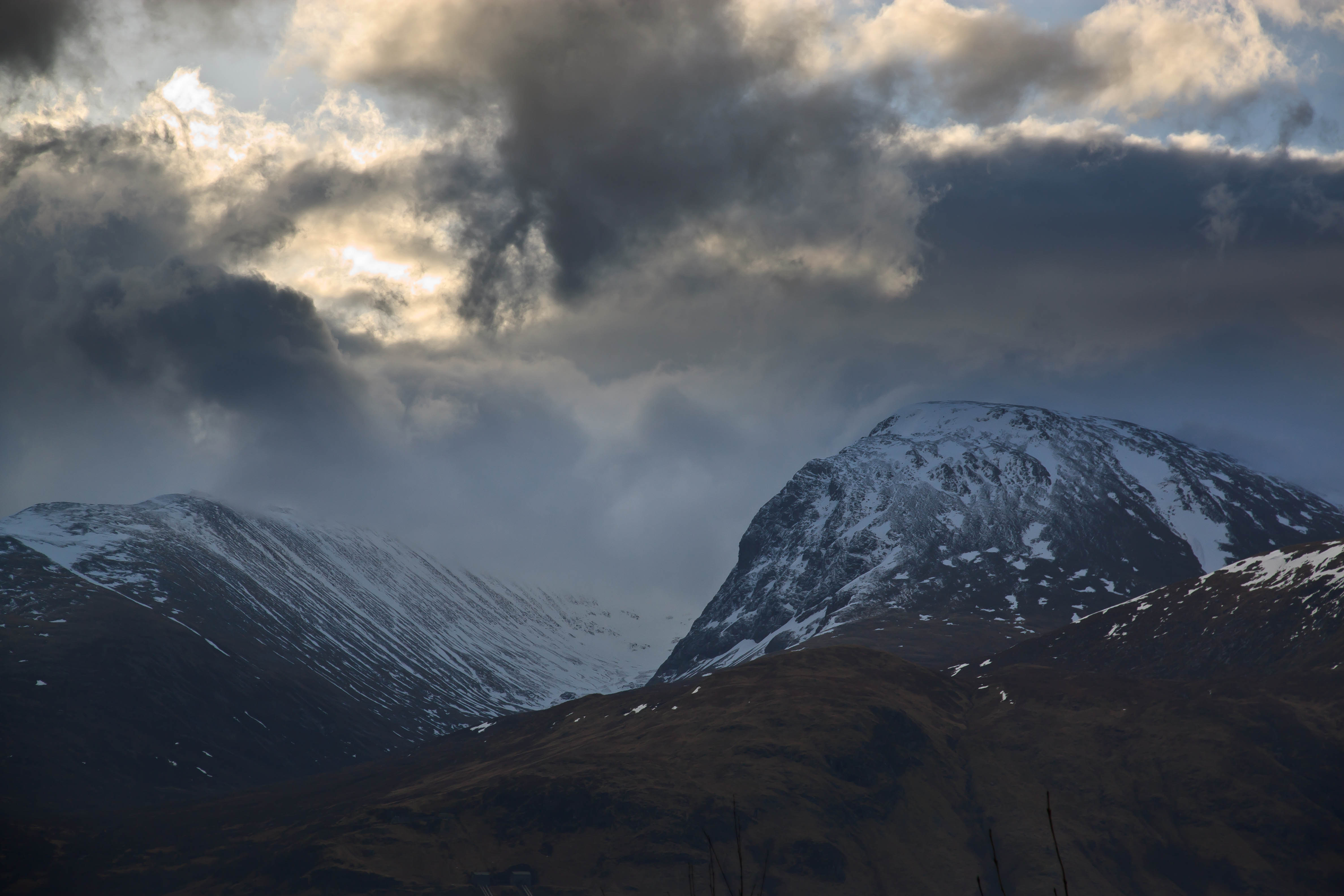 Ben Nevis and Carn Mor Dearg from Banavie on the A830.