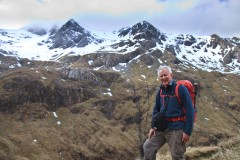 Walk up Stob Ban with Mullach nan Coirean in the background. Part of the Mamores south of Glen Nevis. March 2015.