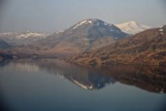 Loch Treig from the train heading for Corrour station. The Grey Corries beyond.