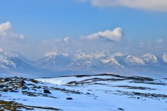View south from summit Leum Uilleim towards The hills of Glencoe including Creise, Glen Etive, Bidean nam Bian.  March 2015.
