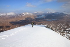 View east towards Loch Ossian from Leum Uilleim. March 2015.