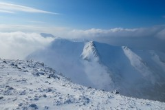 Ben Nevis and Ben Dearg Mor from Aonach Mor. Photo by Keith Gault. March 2015.