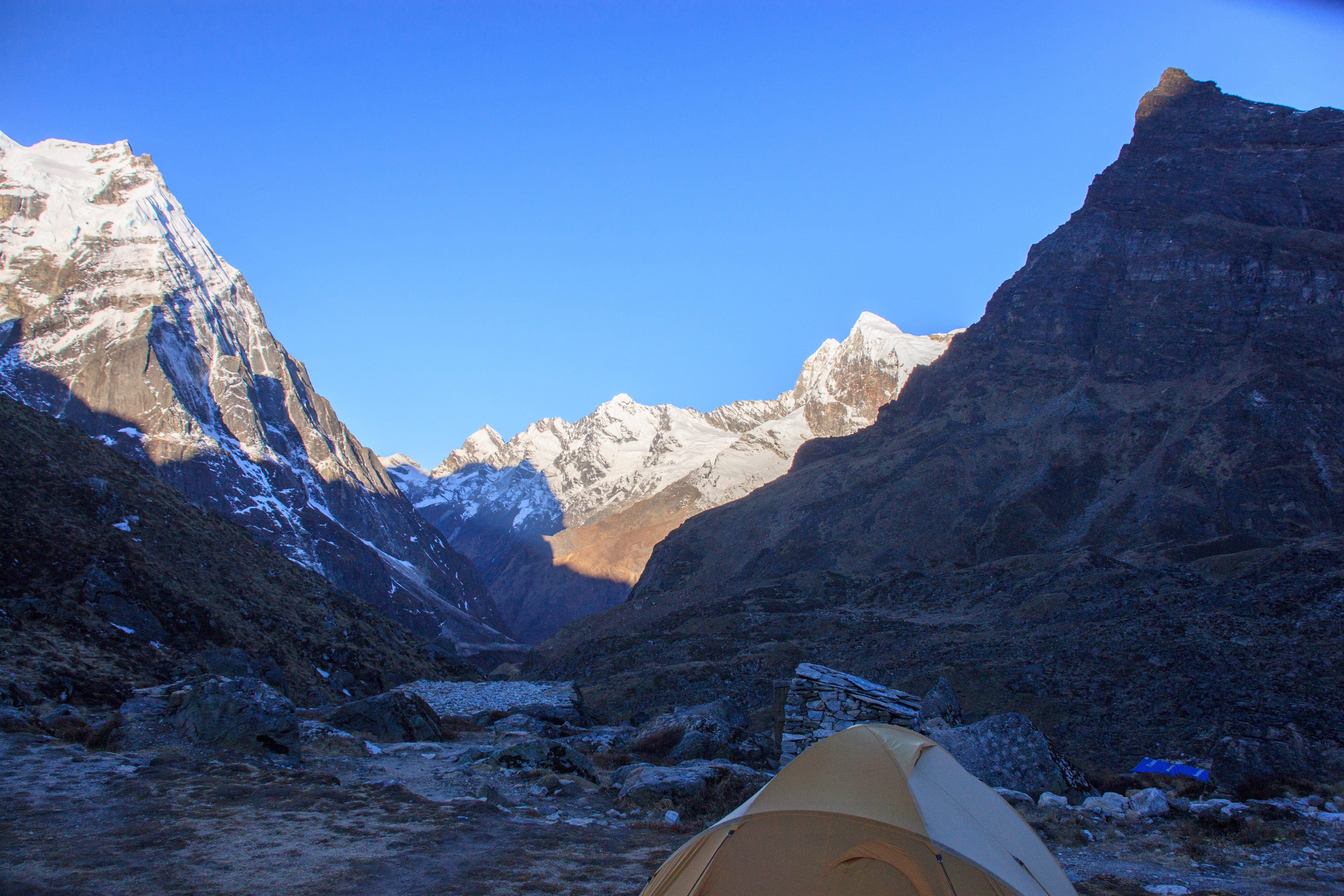 Early morning view from our camp site at Khare