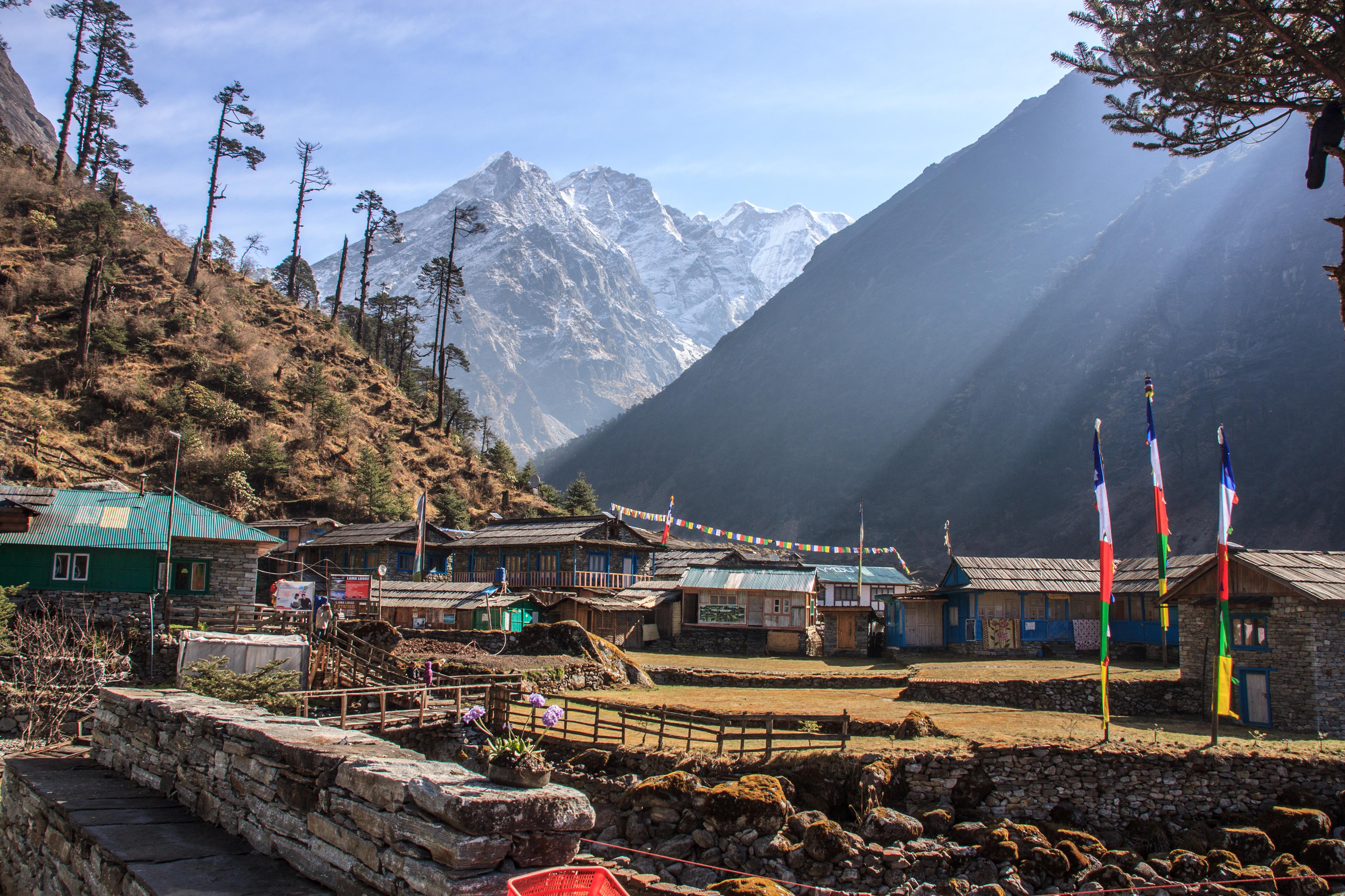 Khote with Mera Peak beyond.