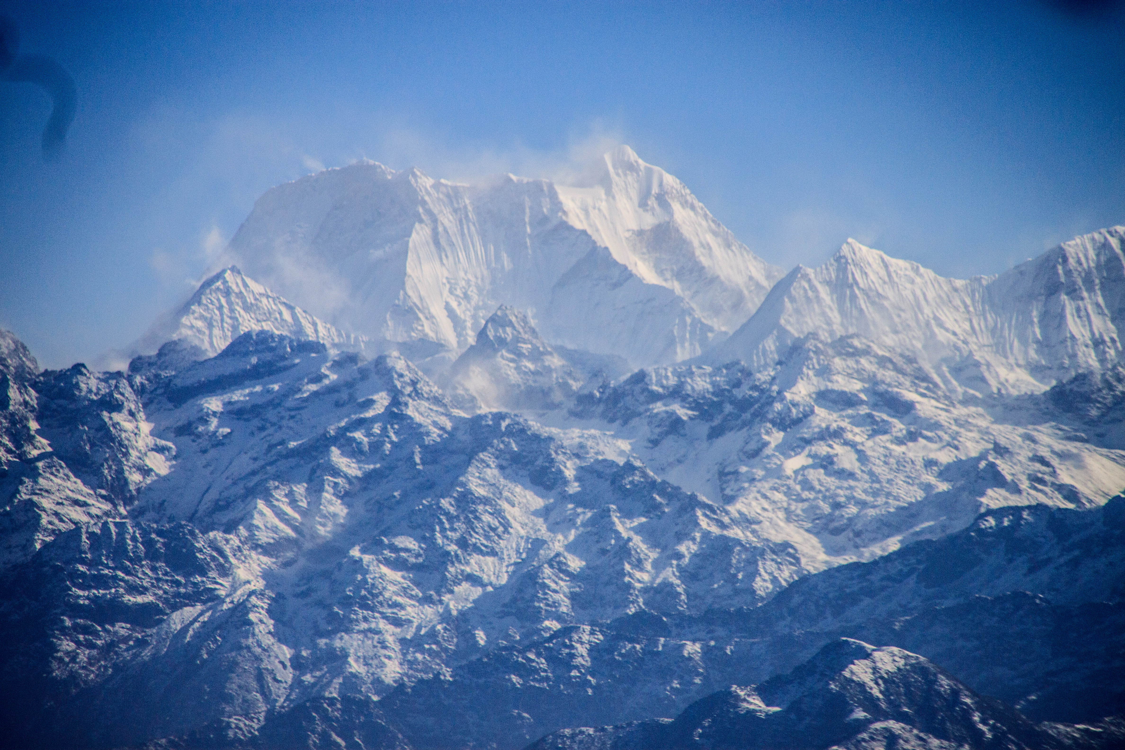 I think this may be Annapurna but I'm not sure! Taken from the plan as we approached Lukla.