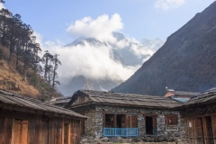 First view of Mera Peak from Khote in the Hinku Khola valley