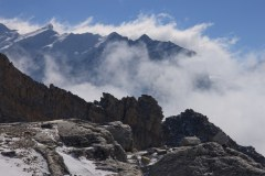 Clouds swirl around the peaks at Base Camp