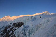 Looking towards the summit at sunrise from High Camp