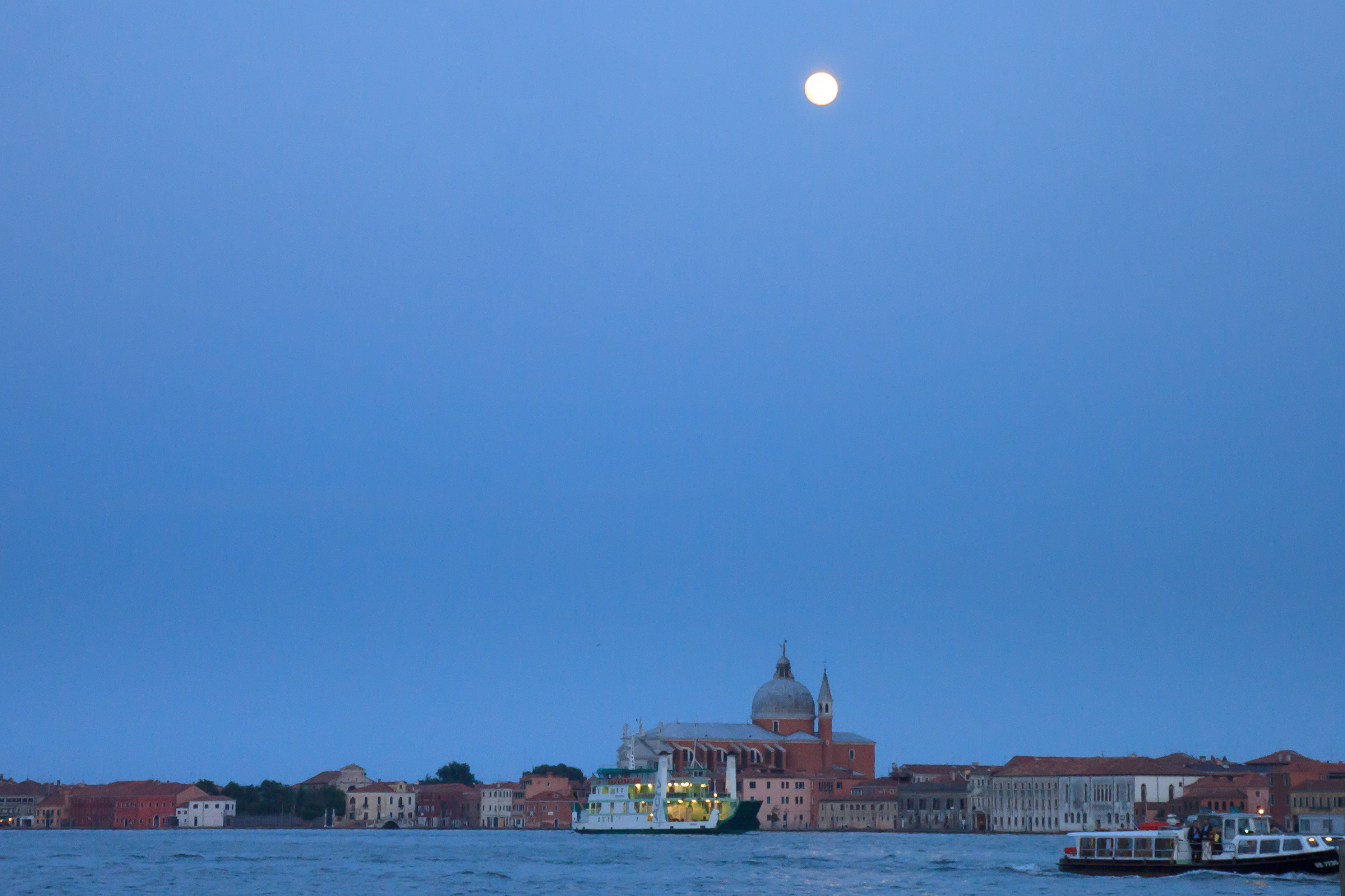 View from Venice across the Canal della Guidecca by moonlight.