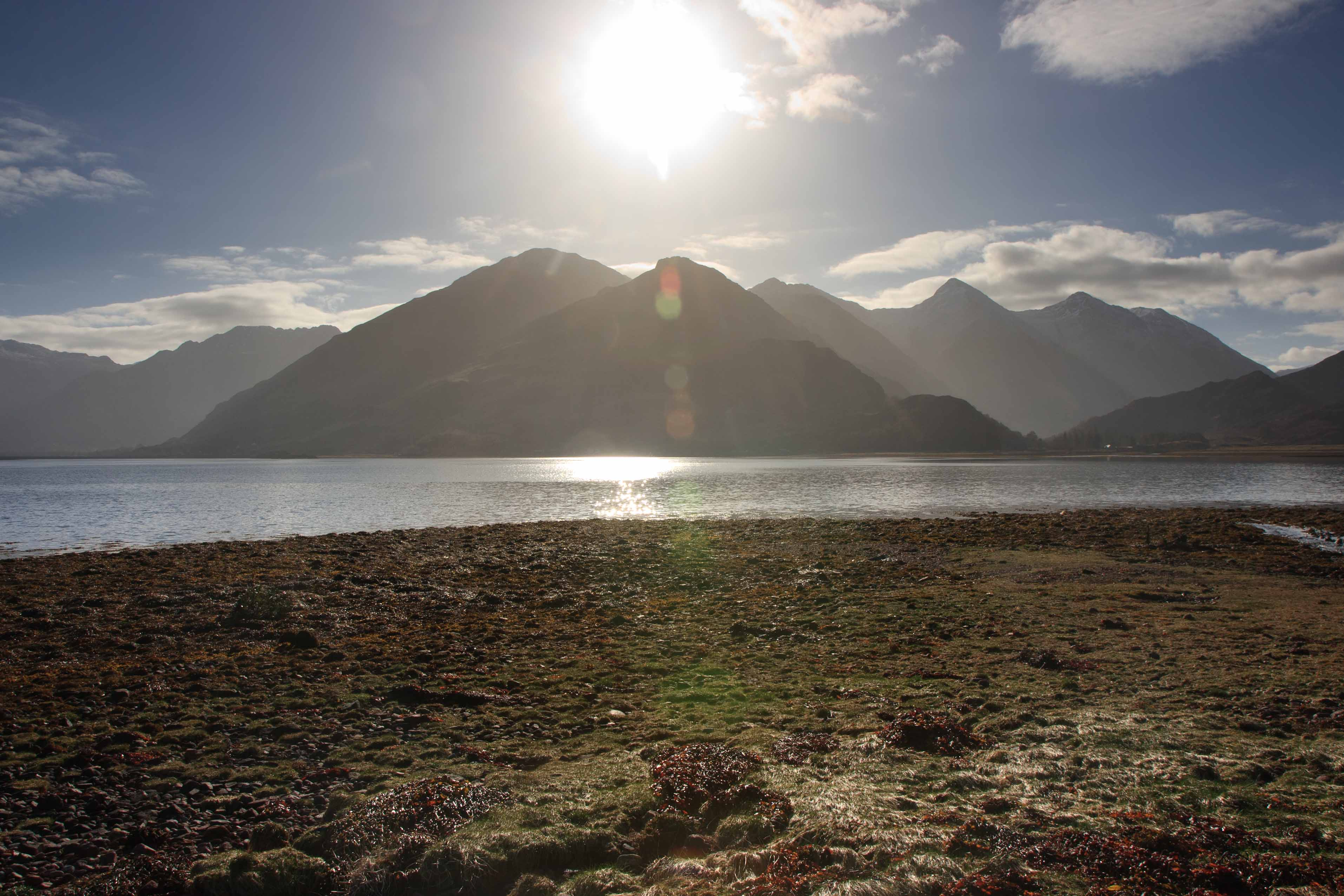 The Sevrn Sisyers of Kintail from Ratagan Youth Hostel on  Loch Duich.