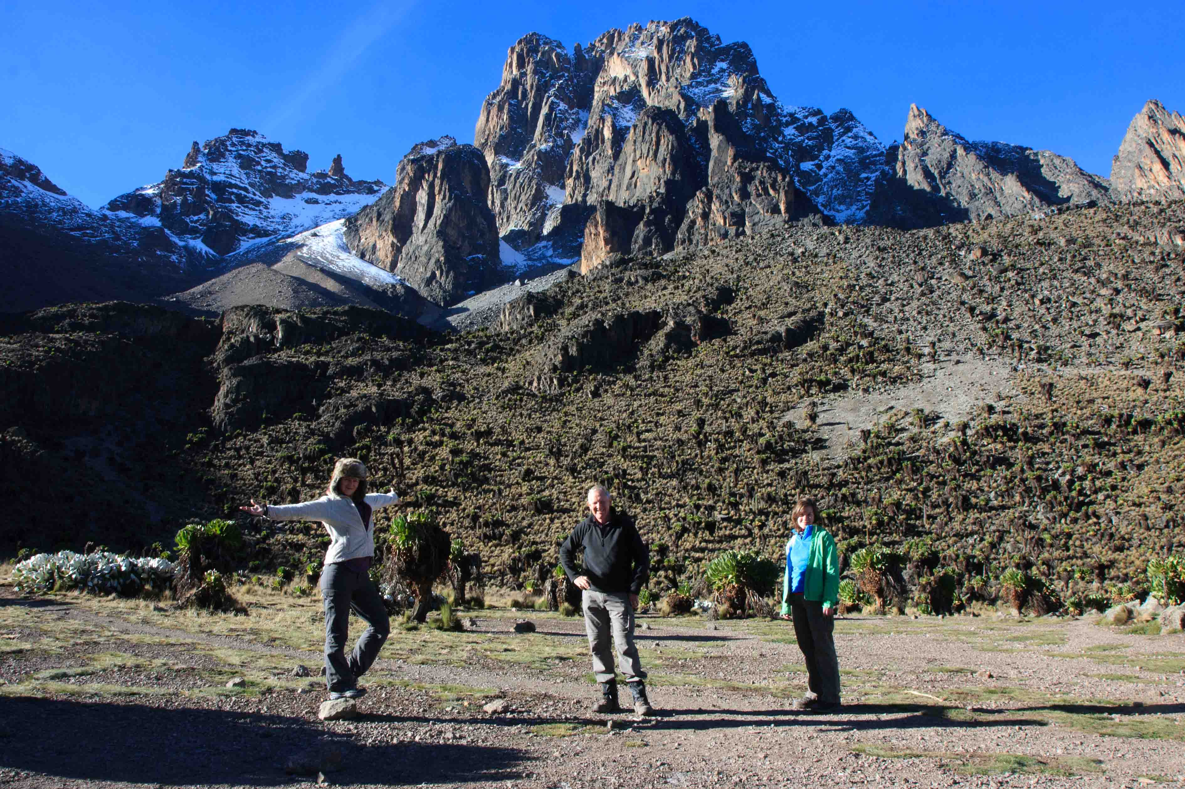 The central peaks of Mt Kenya from the Shipton Hut.