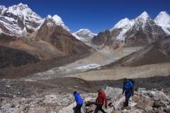 Peaks above Khare at the head of the Hinku Khola valley near Mera Peak