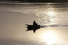 Fisherman in Boat in the Taw Estuary