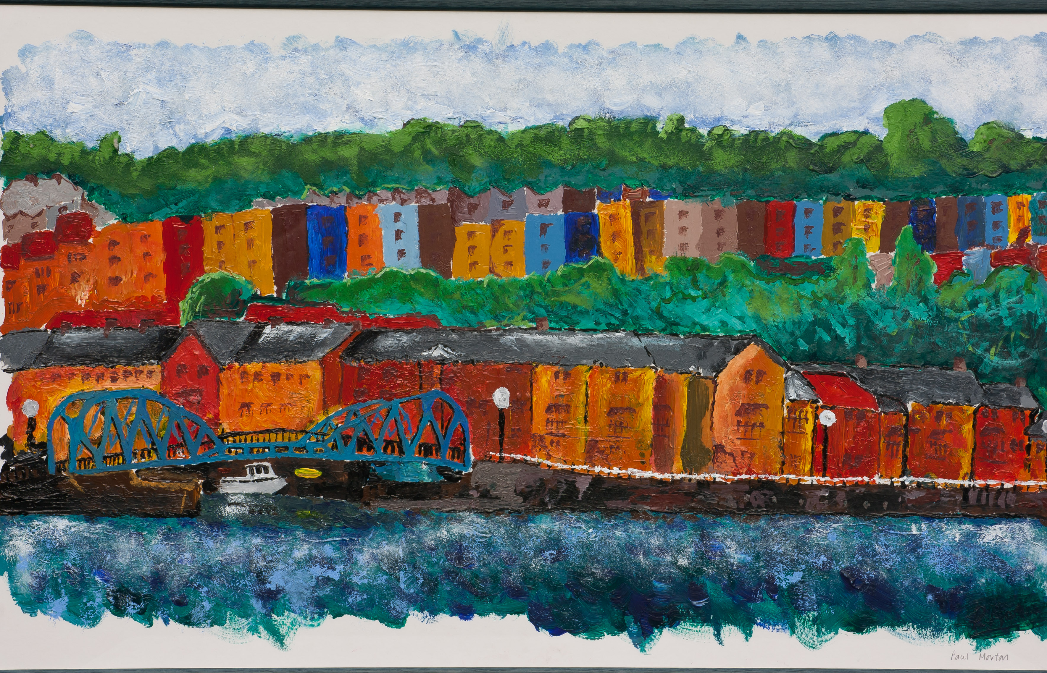 Paul's GCSE painting of Clifton from the harbourside in Bristol