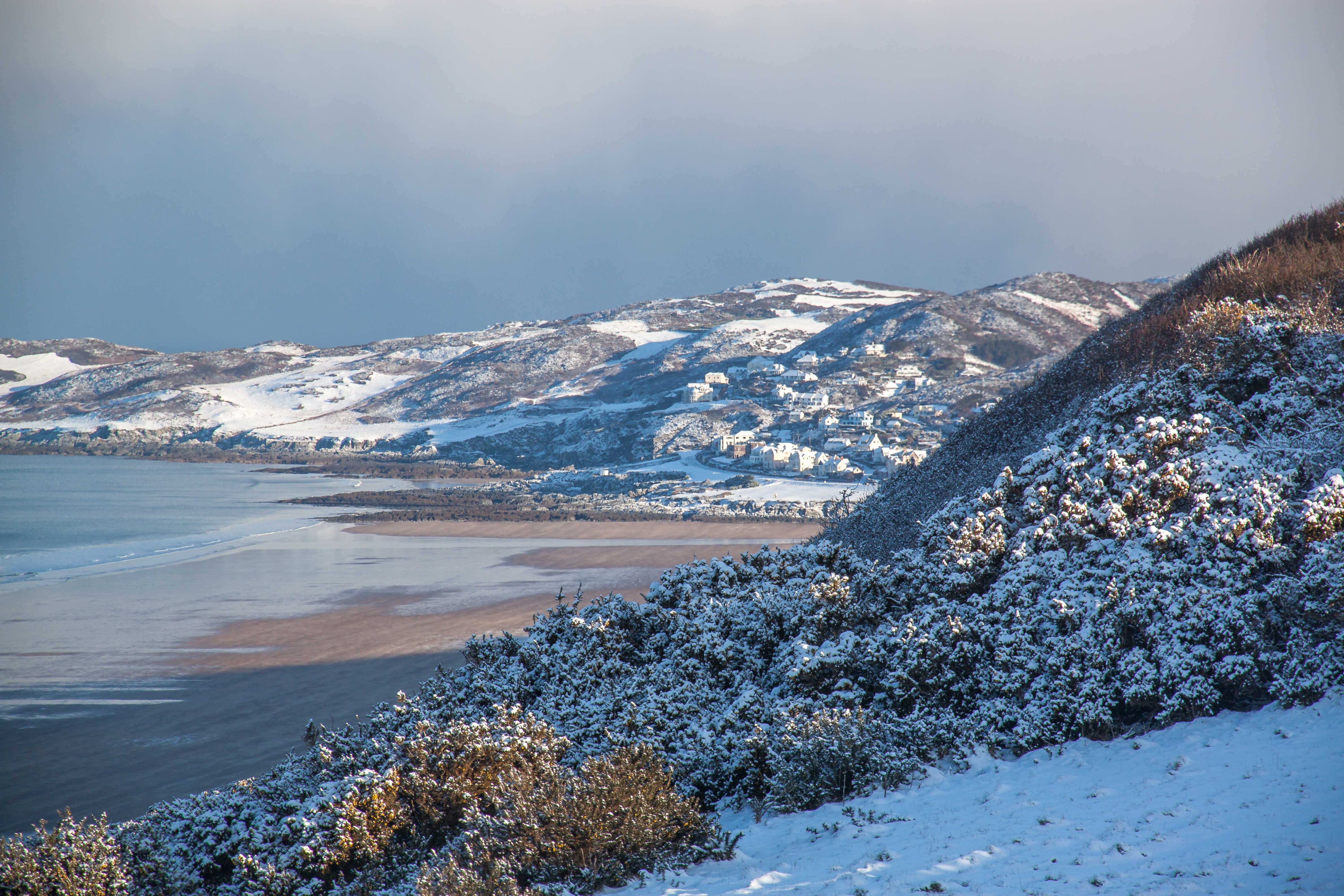 Woolacombe from Pickwell with snow