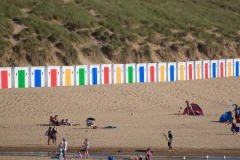 Beach huts on Woolacombe Beach. July 2015.