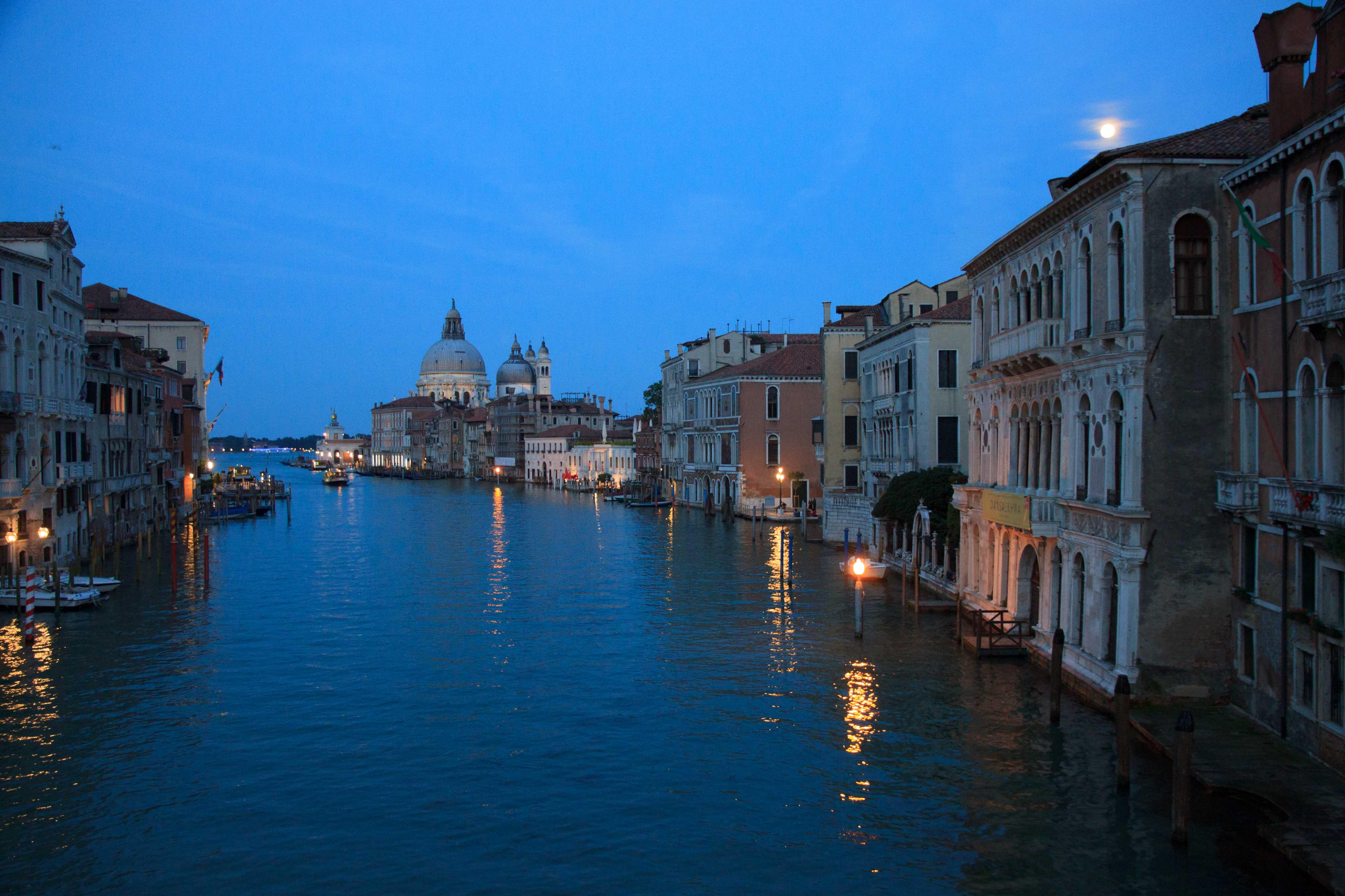Grand Canal from Ponte dell Academia in the evening. Basilica di Santa Maria della Salute in the background.