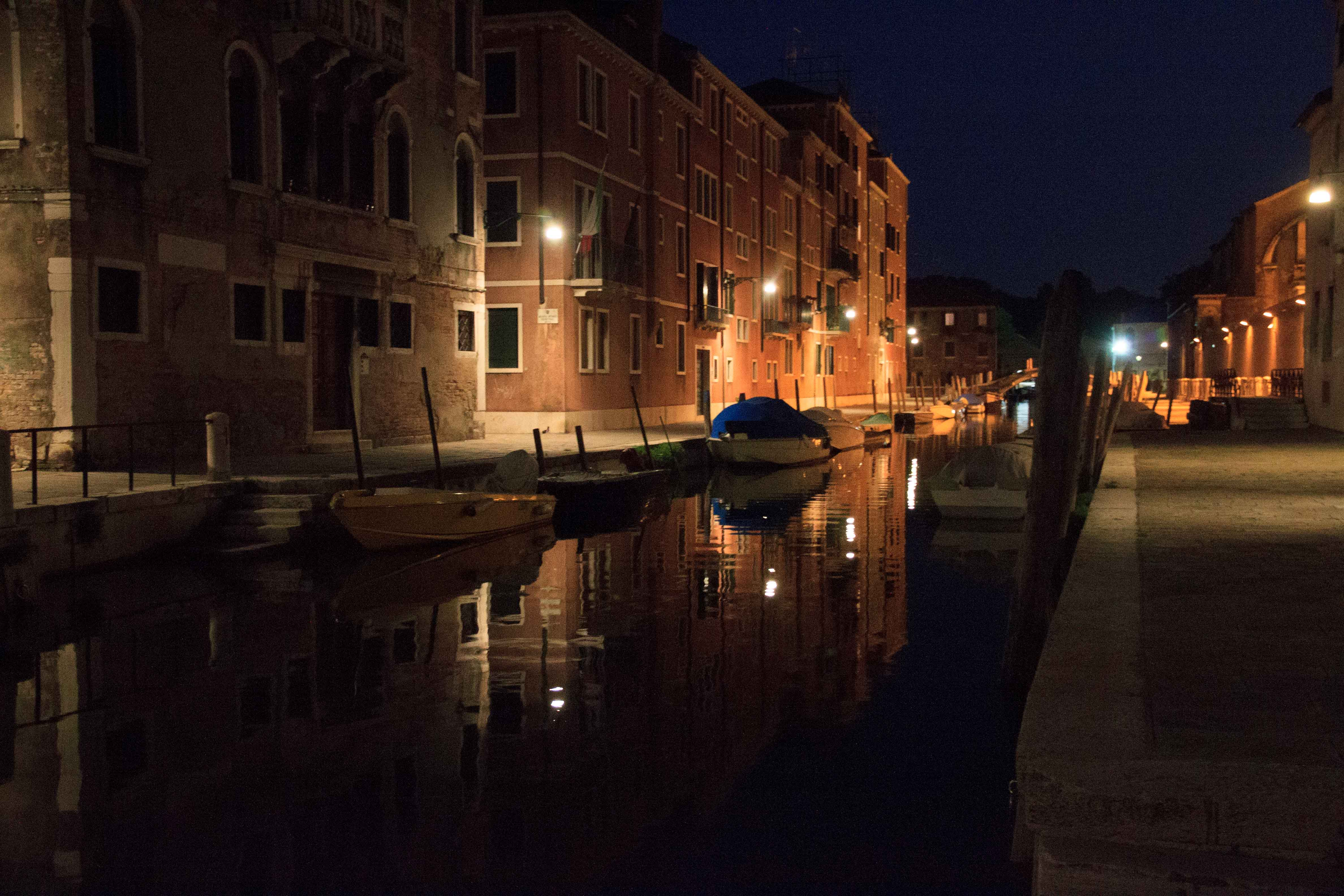 """One of the """"back canals"""" of Venice at night."""