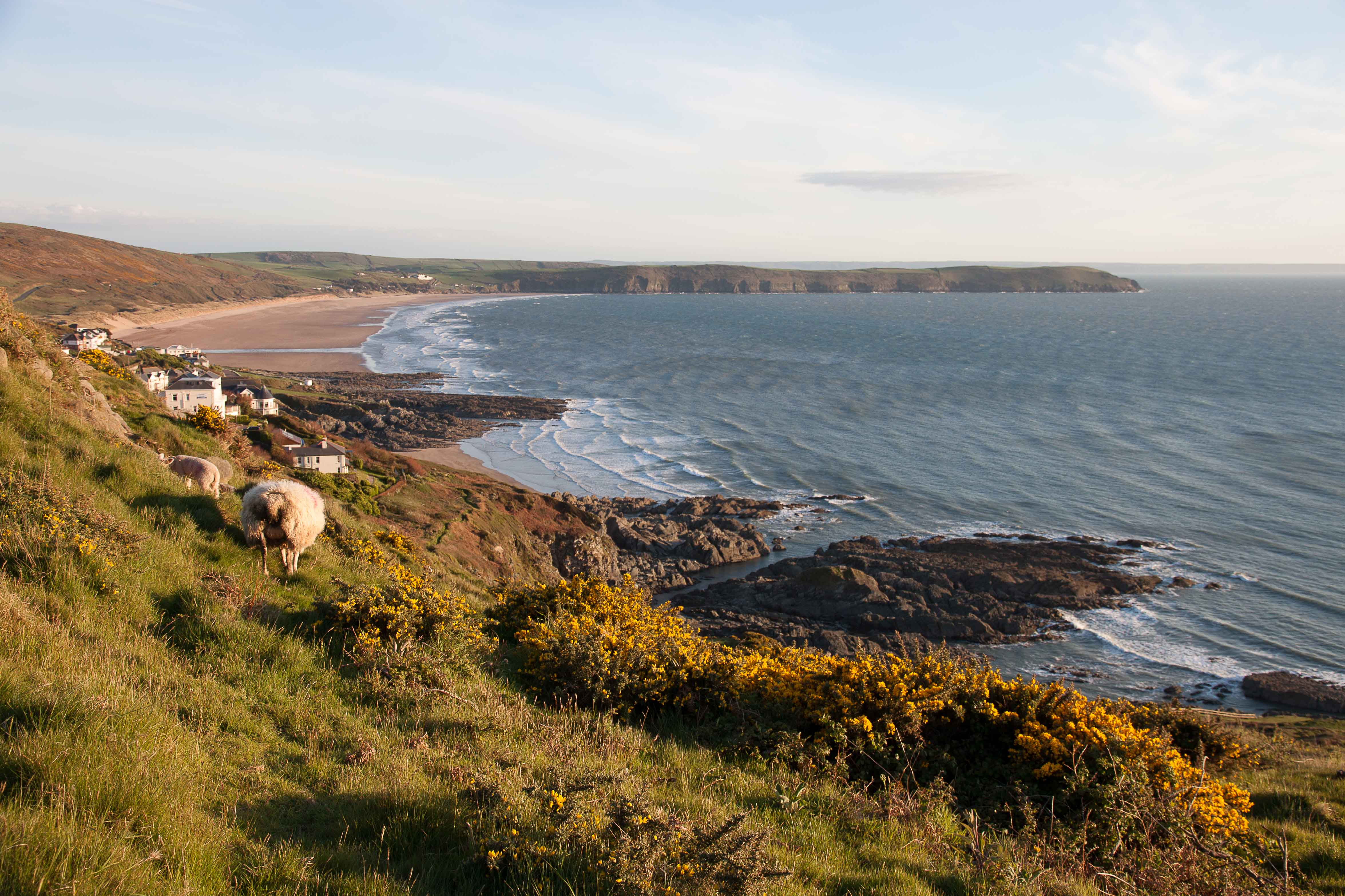 View from Morte Point down Woolacombe/Putsborough Beach towards Baggy Point. April 2015