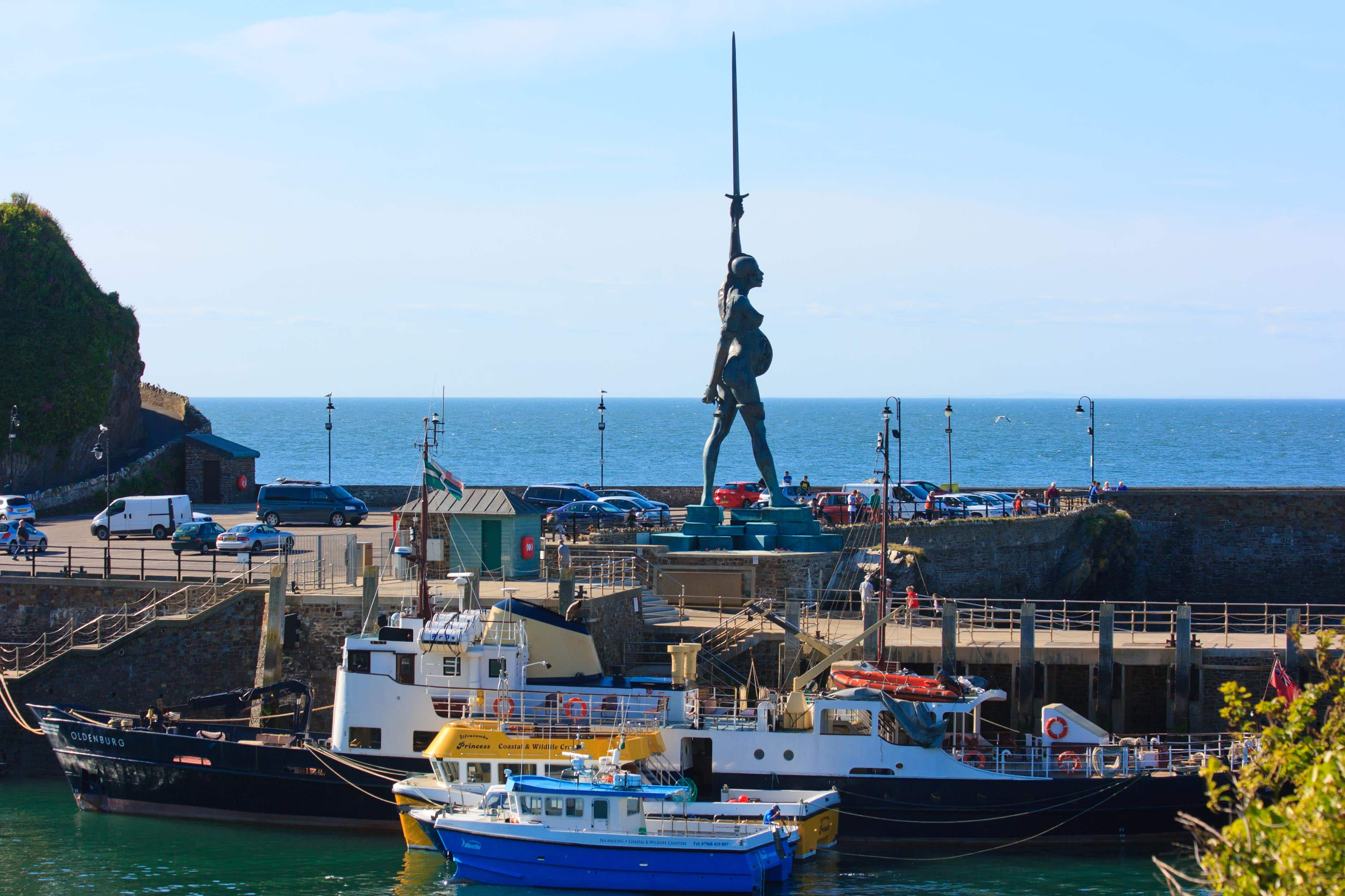 "August: ""Verity"" sculptor by Damian Hurst on Ilfracombe Harbour"