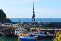 """August: """"Verity"""" sculptor by Damian Hurst on Ilfracombe Harbour"""