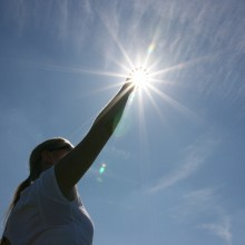 Paul's sister Rebekah holding the sun in her hand