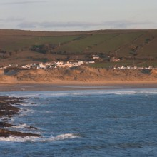 Croyde Bay panorama from walk to Baggy Point in April