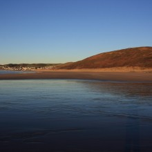 Woolacombe Down from Putsborough Beach on a cold and sunny January day