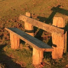 Bench on Saunton Down in the golden light of a February afternoon