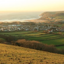 Croyde Bay from Saunton Down on a February evening.