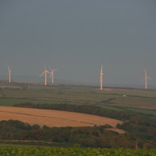 Fullabrook wind farm on a July summers evening