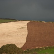 Ploughed fields above Putsborough in September