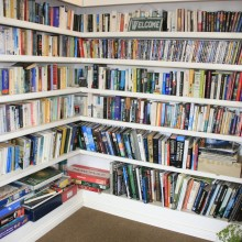 The library of books, DVD's, games and puzzles