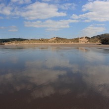 Reflections on Croyde Beach. March 2013.
