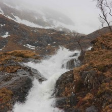 Waterfall on the ascent of Creag nan Damh above Glen Shiel. April 2013