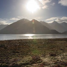 Five Sisters of Kintail from Loch Duich in the early morning. April 2013.