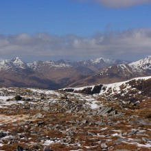 Looking west from the summit of Carn Ghluasaid above Loch Cluanie. April 2013.