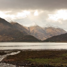 Five Sisters of Kintail from Ratagan Youth Hostel on Loch Duich. April 2013