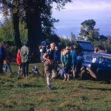 Mt Kenya: Preparing to set off from the forest on the Naro Moru route.