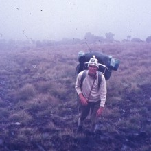 Mt Kenya: Ascending through the vertical bog. Dec. 1971.