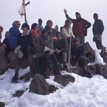 Mt Kenya: On the summit of Pt Lenana (16,355') on Christmas Day 1971